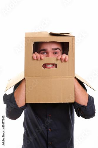 Guy with cardboard box on head