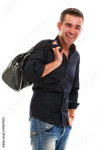 Young handsome guy with bag