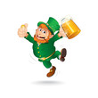 Cute Jumping Leprechaun. Isolated Cartoon Image