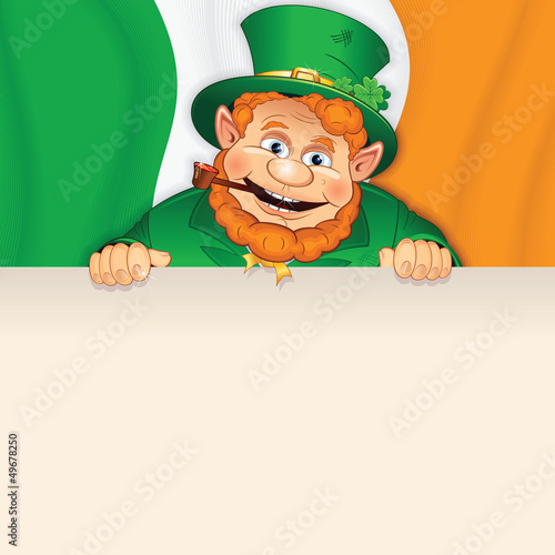 Cartoon Leprechaun with Sign over Irish Flag.