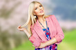 attractive young blonde girl well dressed spring summer