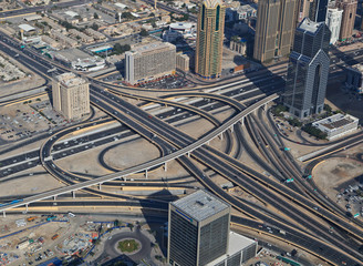 Aerial view of multilevel junction, Dubai