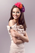 beautiful young brunette woman with flowers headband