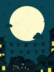 Night small town with big moon. Vector illustration.