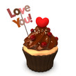 Cupcake Choco Heart Love You