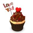 Cupcake Choco Heart Love You