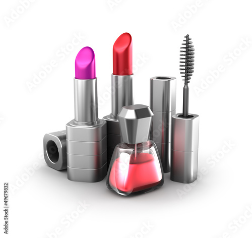 Beauty products: lipstick, nail polish and mascara