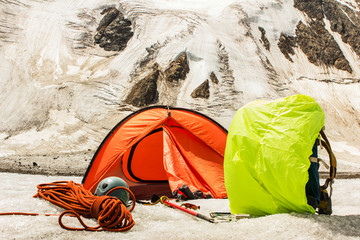 Mountain basic camp of climbers