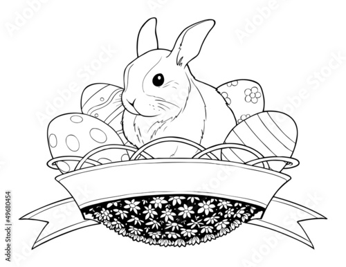easter bunny rabbit in basket with eggs vector illustration