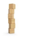 Fototapety Turm aus Holzklötzen isoliert