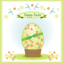 Greeting card Happy Easter with big Easter egg