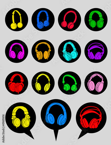 Headphone Icons and Dialog Bubbles
