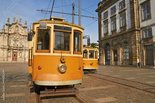 canvas print picture electric tram in Portugal, Porto