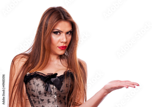 Brunette holding something imaginary