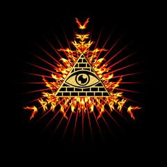 Allsehendes Auge Gottes - Pyramide - Feuer