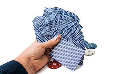 poker chips with cards