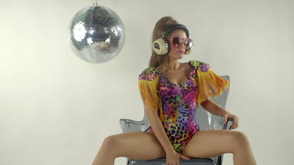 beautiful sexy gogo dancer in costume. studio shoot