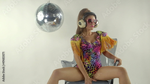 beautiful sexy gogo dancer in costume. studio shoot