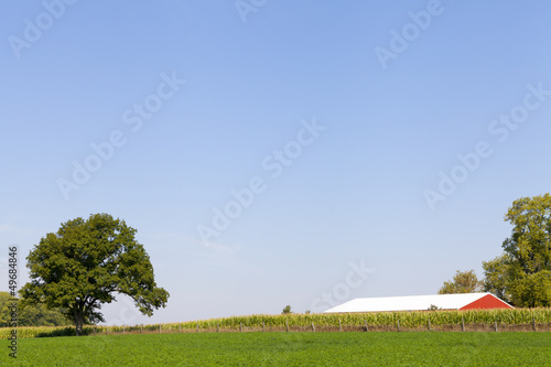 Traditional American Red Barn With Blue Sky