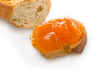Toast with apricot jam.