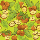 Seamless pattern with highly detailed hand drawn hazelnuts on gr