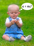 Funny picture of a little mathematician. poster