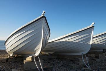 White Boats at Hove, Near Brighton, East Sussex, UK.