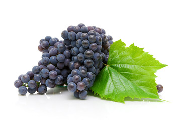 ripe grapes on a white background close-up