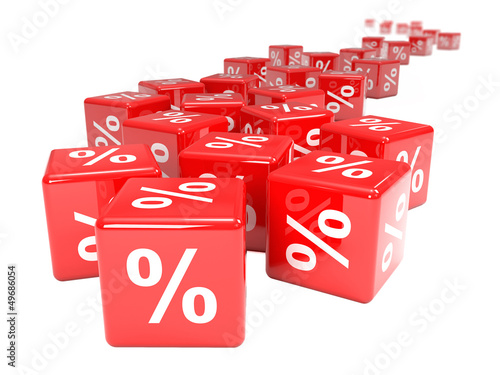 Red dice with percentage sign disappear in distance