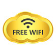 Golden free wifi cloud icon on white background