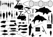 Illustration of fishing tools isolated on white