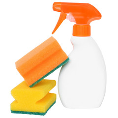 Bottle of detergent with two cleaning sponge