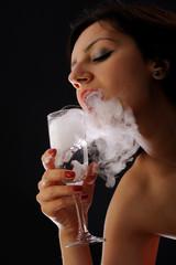 Beautiful girl with foggy glass