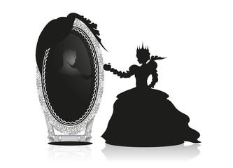 Die böse Königin vor dem sprechenden Spiegel