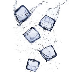 Collection of ice cubes with water splash on white background