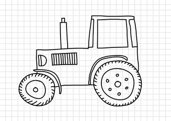 Drawing of tractor on squared paper