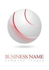 Business logo 3D metal sphere design