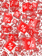 Red 3d dice with percent symbol fall from sky