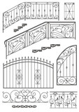 Vector set: wrought iron wicket, stairs railing, fence and windo