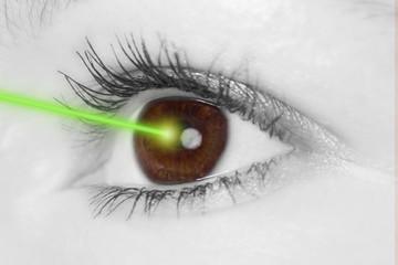 Auge mit Laserstrahl