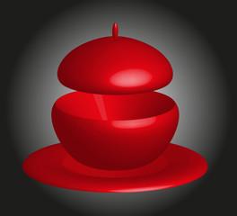 zuppiera rossa su sfondo sfumato