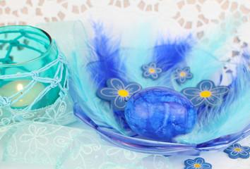 Blaue Osterdeko
