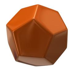 Orange dodecahedron isolated on white background