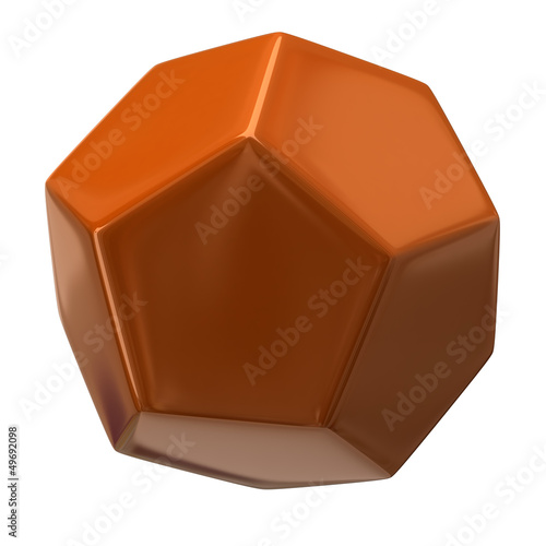 Orange dodecahedron isolated on white background