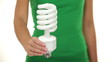 Energy saver light bulb - woman showing