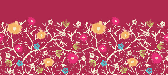 raster painted blossoming branches horizontal seamless pattern