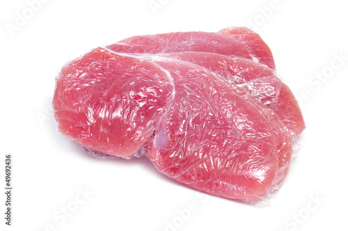 raw turkey meat wrapped in plastic wrap