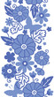 Raster Delft blue Dutch flowers elegant vertical seamless