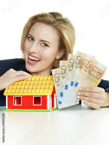 Business woman have enough money for building a house