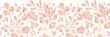 Raster Textured pastel Leaves Horizontal Seamless Pattern